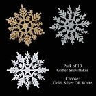 Christmas Tree Room Decorations 10 Pack Glitter Snowflakes Silver Gold or White