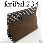 Polka Dot PU Faux Leather Stand Case Smart Sleep Cover For New iPad 2 3 4 Retina
