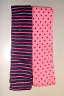 Girls 2 Pack Pink and Purple Spot/Stripe Design Cottonsoft Tights- Various Sizes