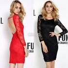 Sexy Women Lace Dress Cocktail Long Sleeve Party Evening Mini Skirts Clubwear B5