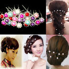 50pcs Wedding Bridal Girl Lady Crystal Rhinestone Pearl Flower Hairpins Hair Pin