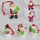 Christmas Tree Decorations Mini 6cm Santa's & Snowmen - 6 Designs