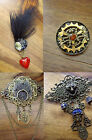 Steampunk Gothic Vintage Style Wolf Shield Gear Raven Heart Pin Brooch Badge