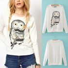 Chic Cute White Animal Owl Print Beading Tops Blouse Pullover Women T-shirts B