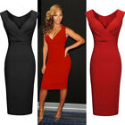 Ladies Women Sexy V-Neck Cocktail Party Evening Bodycon Formal Fit Pencil Dress
