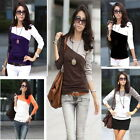 Women Blouse lady Round Neck Long Sleeve Casual Splice Patchwork T-Shirt