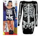 HALLOWEEN SKELETON TUNIC DRESS TOP WOMENS SCARY FANCY DRESS PLUS SIZE 8-22