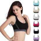 Women Yoga Fitness Stretch Tank Top Gym Seamless Racerback Padded Sports Bra U