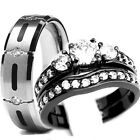 His & Hers 3 pcs Womens Black STAINLESS STEEL & Mens TITANIUM Wedding rings set