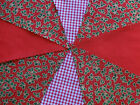 Handmade Fabric Red Holly Christmas bunting 10ft~20ft~40ft Xmas Festive