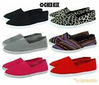 Womens Canvas Shoes Slip On Casual Sneakers Kicks Ballerina Tennis Flats Colors