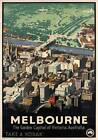 Melbourne, Australia. Vintage Australian Travel Poster by James Northfield.