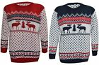 MENS WOMEN UNISEX CHRISTMAS XMAS KNITTED REINDEER NOVELTY LONG SLEEVES JUMPER