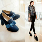 Sexy Lady Bowknot Platform Ankle Boots Retro Faux Suede Chunky Heel Party Shoes