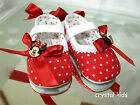 UNIQUE BABY GIRLS REBORN RED CANVAS MINNIE MOUSE DECORATED PRAM SHOES 3 Sizes