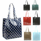 Ladies Oilcloth Medium Little Polka Dot Tote Shopper Bag Girls School Lunch Bag