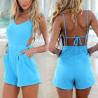 2014 New Sexy Women Celeb V-neck Backless Beach Summer Jumpsuit Playsuit Shorts