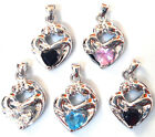 MOTHER & CHILD Pendant CZ Heart Gem .925 Sterling Silver Charm (5 Stone Colors)