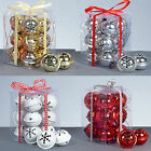 Christmas Tree Decoration 12 Snowflake 40mm Jingle Bell Baubles - 4 Colours