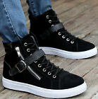Street Trend Buckle Side Zipped High Top Sneakers Mens Lace Up Faux Suede Shoes