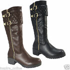 NEW LADIES WOMENS MID CALF BLOCK HEEL WINTER RIDING GRIP SOLE LONG BOOTS SHOES