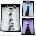 NEW MENS LUXURY LONG SLEEVE CASUAL TOP OFFICE COLLAR FORMAL DRESS SHIRT TIE SET