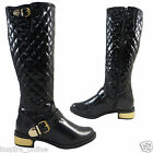 NEW LADIES WOMENS LUXURY QUILTED FASHION KNEE HIGH LONG LINED RIDING BOOT SHOES