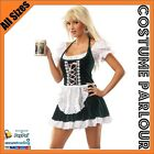 Womens Green Satin Oktoberfest Beer Maid Wench Ladies Fancy Dress Costume 6 - 16