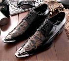 new mens metal pointed toe hair stylist lace up black low heel dress shoes SIZE
