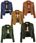 Diana New Womens Faux Leather Biker Gold Button Zip Crop Ladies Jacket Coat