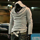 Mens Shirts Heap Collar Solid Color Long Sleeved Slim Sweater