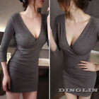 Sexy Women Low Cut Long Sleeve Stretch Casual Bodycon Cocktail Wrap Pencil Dress