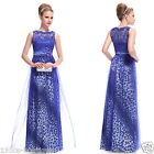 Blue Leopard Print Long Maxi Formal Prom Gown  Evening Bridesmaid Party Dress