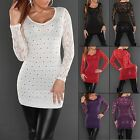 Women's Knit Sweater Top Lace and Rhinestones - S/M (US 2-4-6)