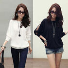 Women Casual Loose Crew Neck  Long Sleeve T-shirt Blouse Tops Shirt Black White