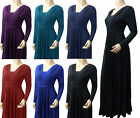 Full Sleeved V Neck Long Flared Maxi (UK Size 12 - 22  - VNK1060)