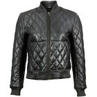 VIPARO Navy Bomber Quilted Lambskin Leather Jacket - Riot