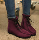 Women Wedge Low Heel Faux Suede Warm Zipped Lace Up Street Round Toe Ankle Boots