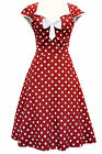 LADY VINTAGE ISABELLA DRESS Red Wine Polka Dot 1950s Swing Rockabilly SIZE 8-30