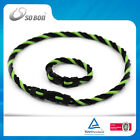 Negative ion cord braided silicone bracelet 7.5'' & necklace 19.5'' sets