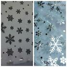 Plain Christmas Organza Fabric with Snowflakes Foil Print - 2 Colours *Per Metre