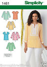 Simplicity 1461 Sewing Pattern Notch Neck Tunic Sleeve Cup Opt Ladies Size 10-28