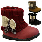 GIRLS WINTER ZIP BOOTS BABIES PARTY TODDLERS WARM SNOW ANKLE INFANTS SHOES SIZE