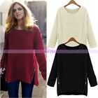 Chic Womens Crew Neck Loose Knitwear Jumper Sweater Long Sleeve Pullover Outwear