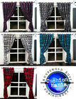PAIR OF RINGTOP FULL FLOCK DAMASK FULLY LINED EYELET CURTAINS 5 COLOURS
