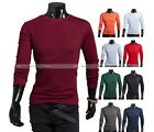 Men Simple Slim Fit Round Collar Long-Sleeve T-Shirts Top 9 Colors M-XXL