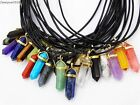 Natural Gemstones Hexagonal Pointed Reiki Chakra Gold Pendant Leather Necklace