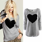Women Love Heart Print Crew Neck Long Sleeve T-shirt Tops Cotton Tee Grey Color