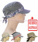 Girl Ladies Woman Full Cotton Chemo Visor Wrap Soft Lining  Hat Outdoor Army Cap