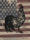 Americana Floral Rooster on Rustic Flag Picture Art Print A665
